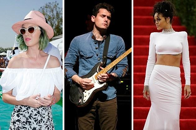 Katy Perry, John Mayer, and Rihanna