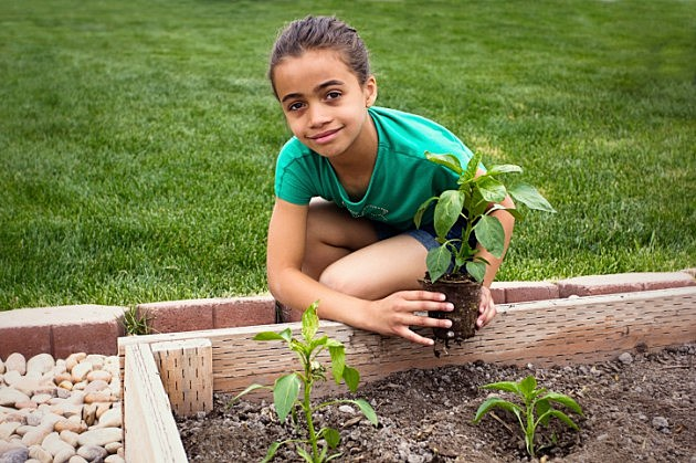 Young Girl Planting a new Plant in her Garden