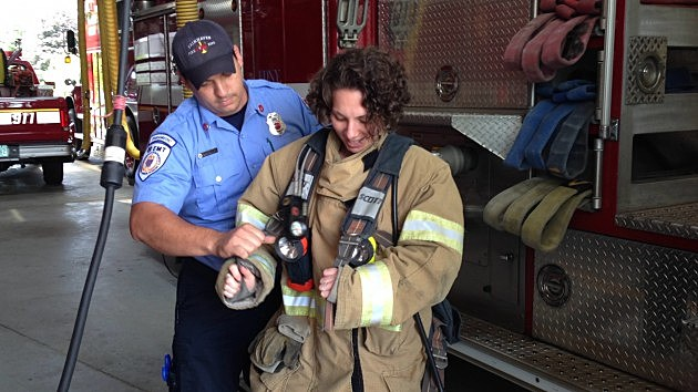 Nancy Hall suits up at the Fairhaven Fire Department