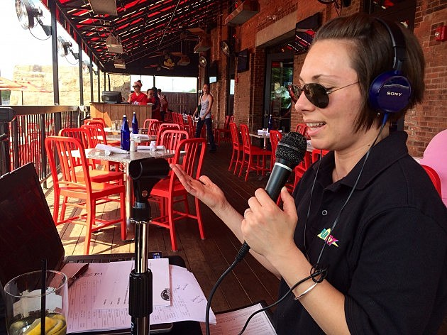 broadcasting live at Jerry Remy's