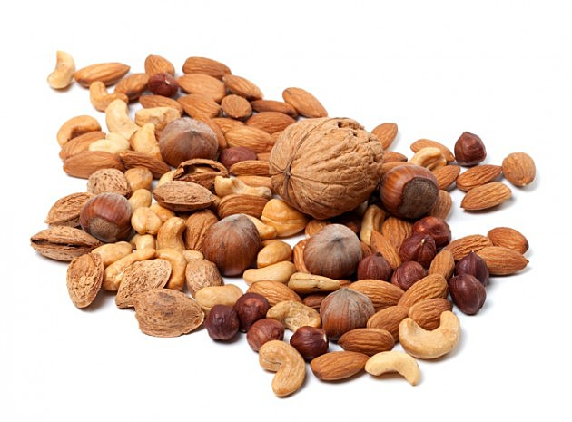 Assortment of raw and roasted nuts