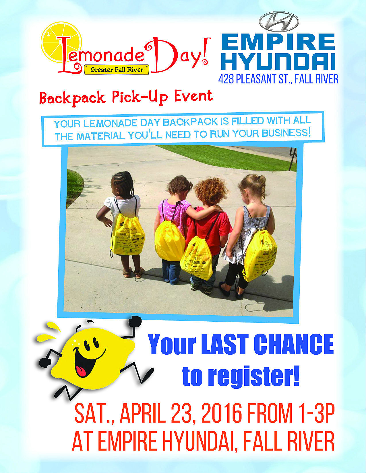 Our FINAL Registration And Backpack Pick Up Event